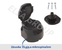 Zásuvka 13pin (DIN) s mikrospínačom+podložka